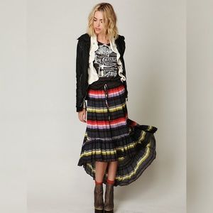 FP Multicolor Crinkle Pleated Hi Low Skirt